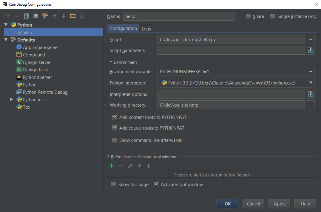 Tela Run/Debug Configuration do PyCharm