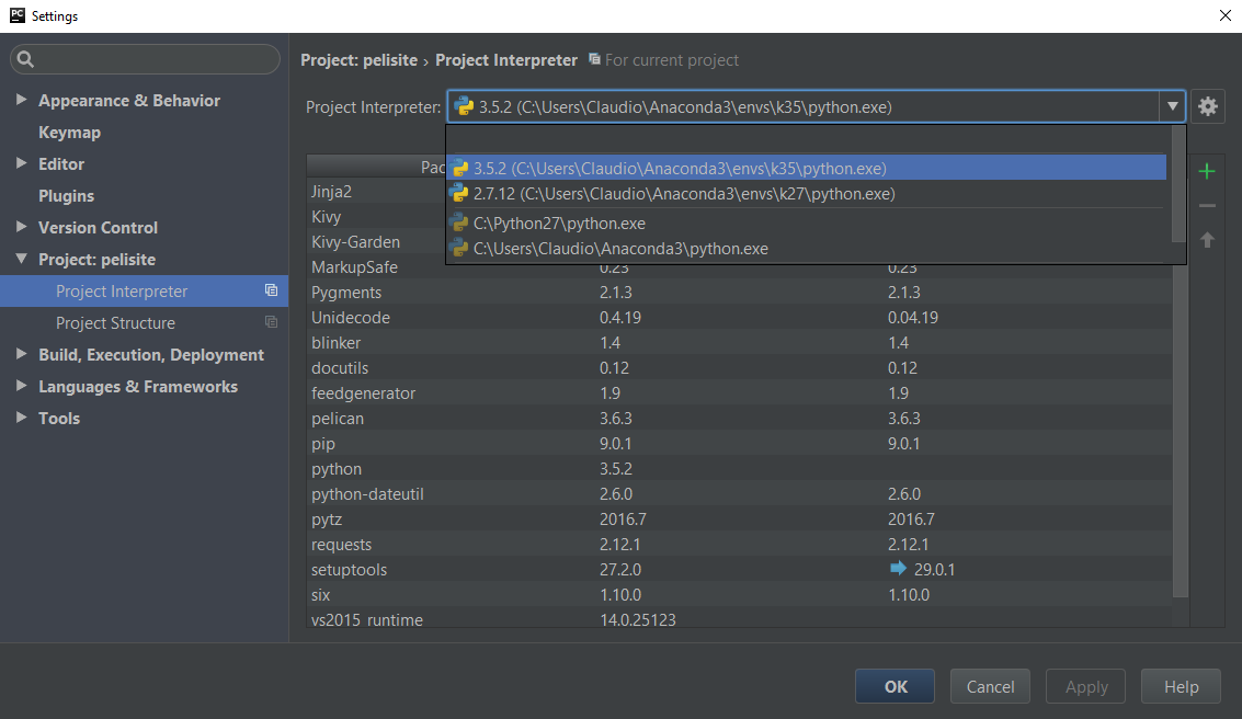 Tela Settings do PyCharm